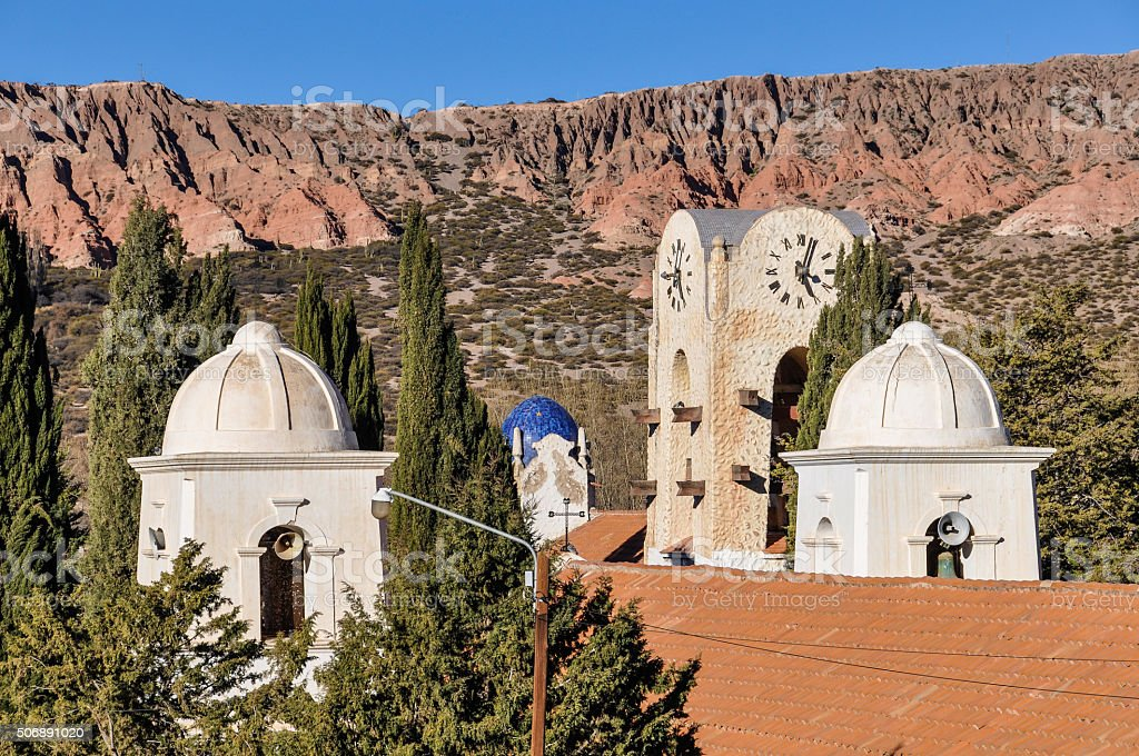 Church towers in Humahuaca, Argentina stock photo