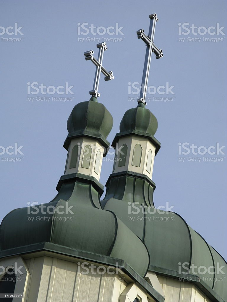 Church Twin Steeple Crosses royalty-free stock photo