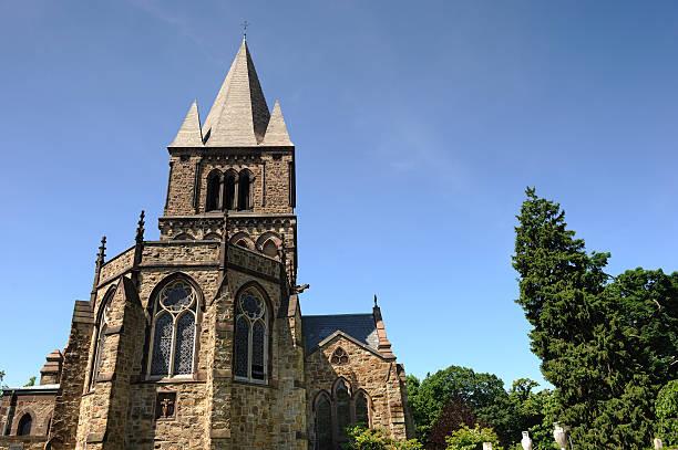 Church under a blue sky stock photo