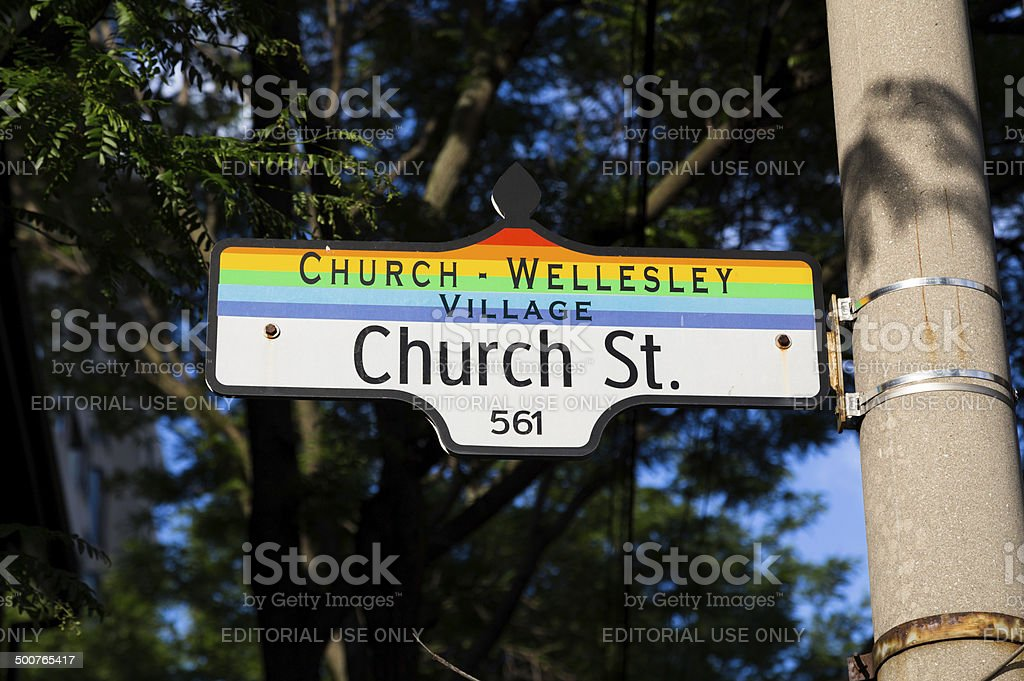 Church Wellesley Village Sign stock photo