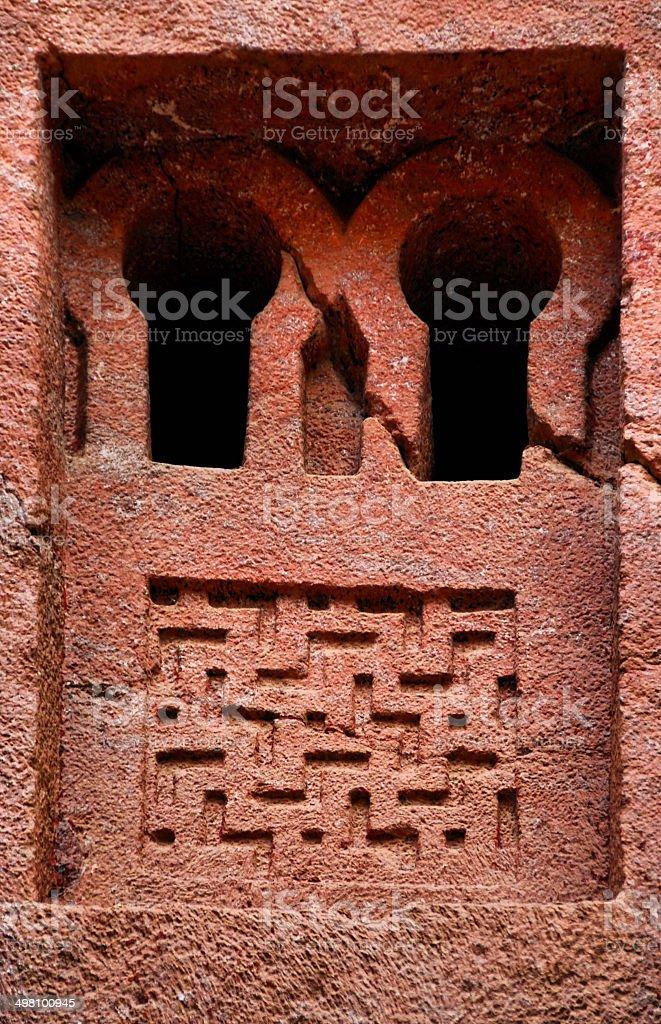 Church window, Bete Medhane Alem, Lalibela, Ethiopia royalty-free stock photo