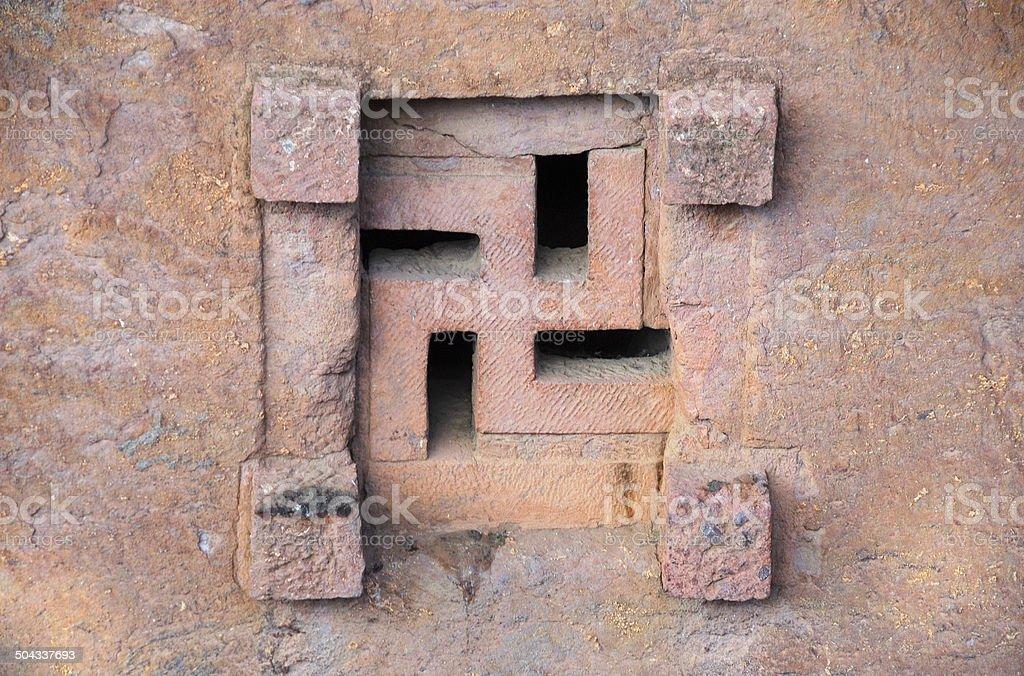 Church window, Lalibela, Ethiopia stock photo