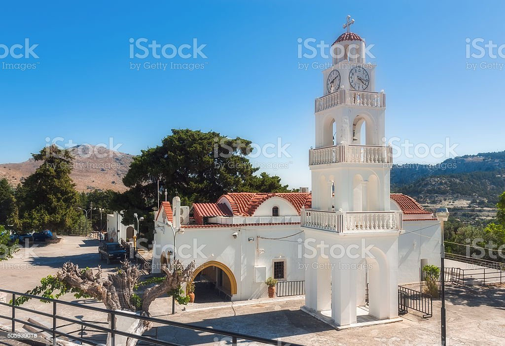 Church with a bell tower. Kato Monastery Tsambika. Rhodes Island stock photo