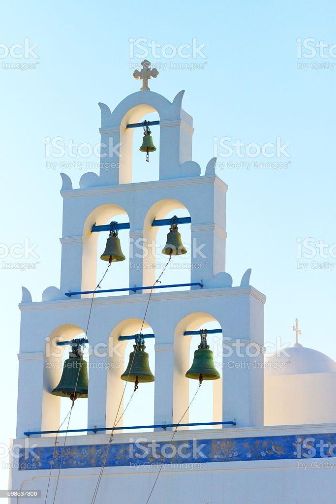 Church with bells in Santorini photo libre de droits