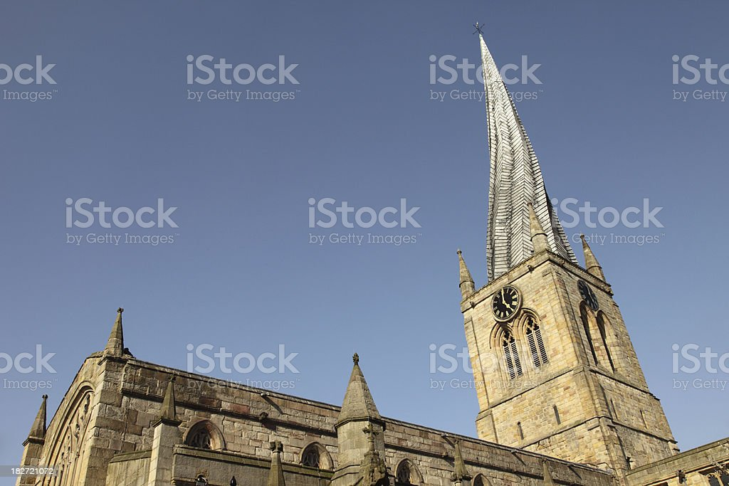Church with Crooked Spire, Chesterfield stock photo