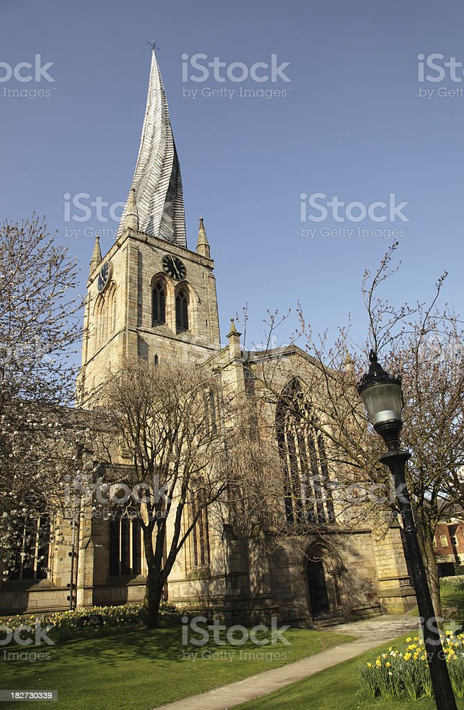 Church with Crooked Spire, Chesterfield royalty-free stock photo