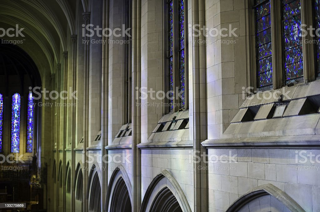 Church with Stained Glass Architectural Detail stock photo