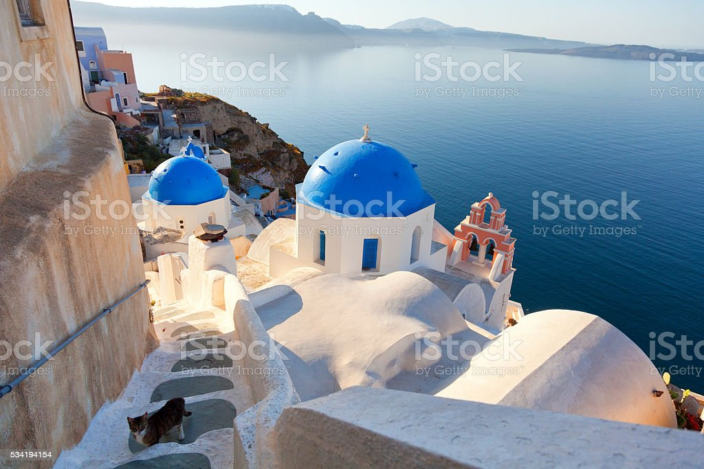 Churches and stairs in Oia, Santorini stock photo