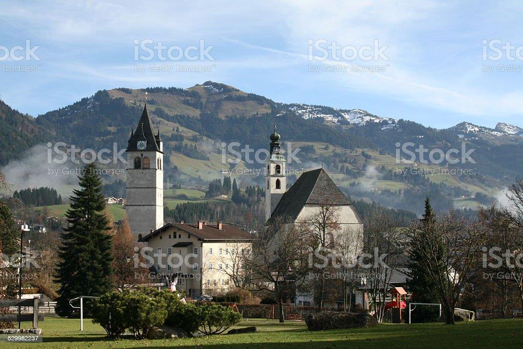 Churches in Kitzbuhel stock photo