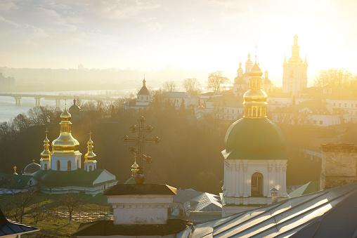 Churches in Kyev-Pechersk Lavra in winter morning