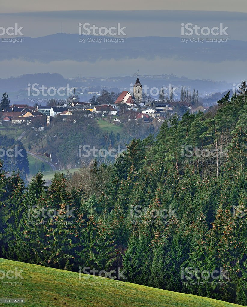 Churches in the upper Austrian highlands stock photo