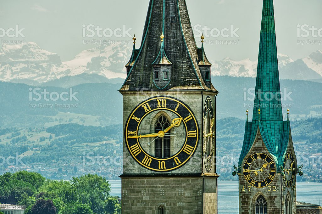 Churches in Zurich HDR stock photo