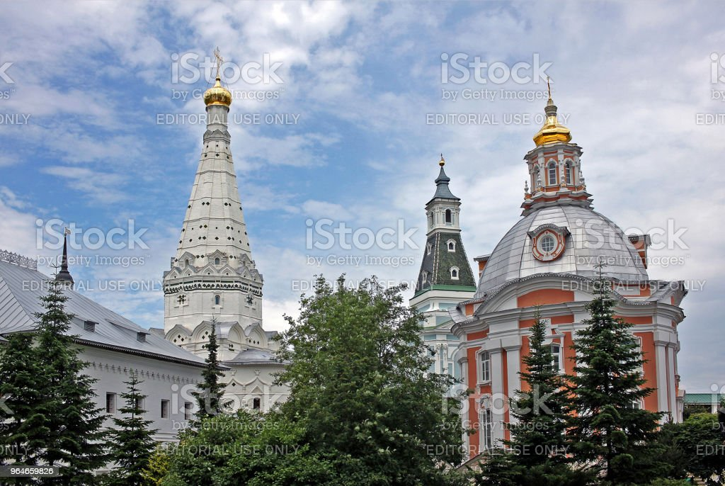 Churches of the Holy Trinity Lavra of St. Sergius. Russia royalty-free stock photo