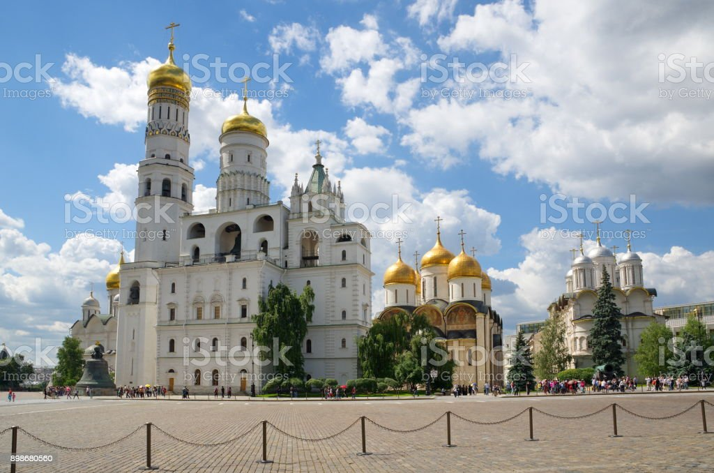 Churches of the Moscow Kremlin, Russia stock photo
