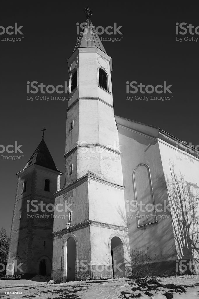 Churches of  two different religions B&W royalty-free stock photo