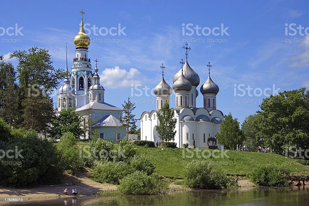Churches on the shore of Vologda river royalty-free stock photo
