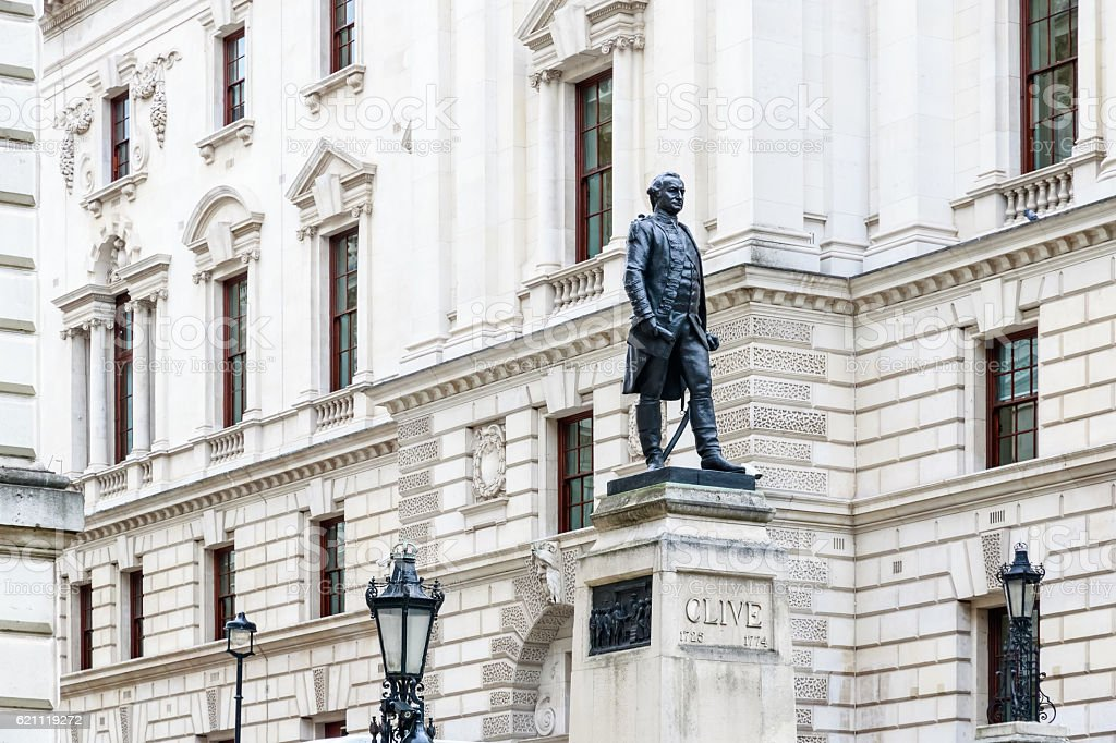 Churchill War Rooms and Robert Clive Memorial in London stock photo