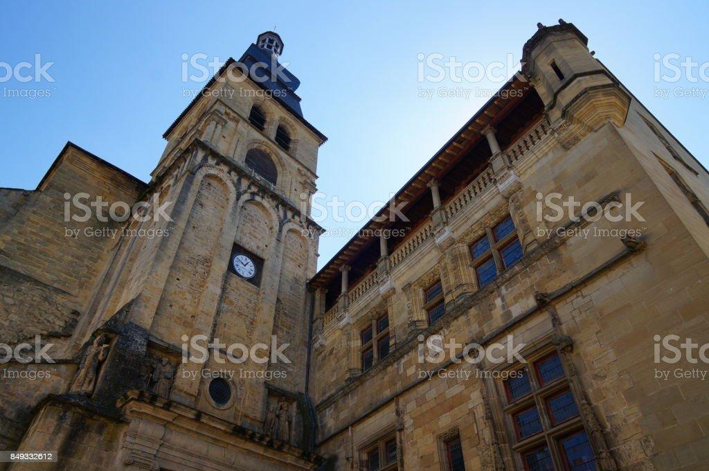 churchtower in Sarlat-la-Caneda, Dordogne, France stock photo