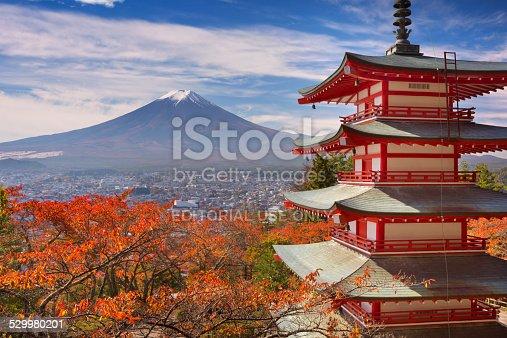 Fujiyoshida, Japan - October 30, 2014: The Chureito pagoda overlooking the city of Fujiyoshida and Mount Fuji in the background. The Chureito pagoda is part of the Arakura Sengen Shrine.