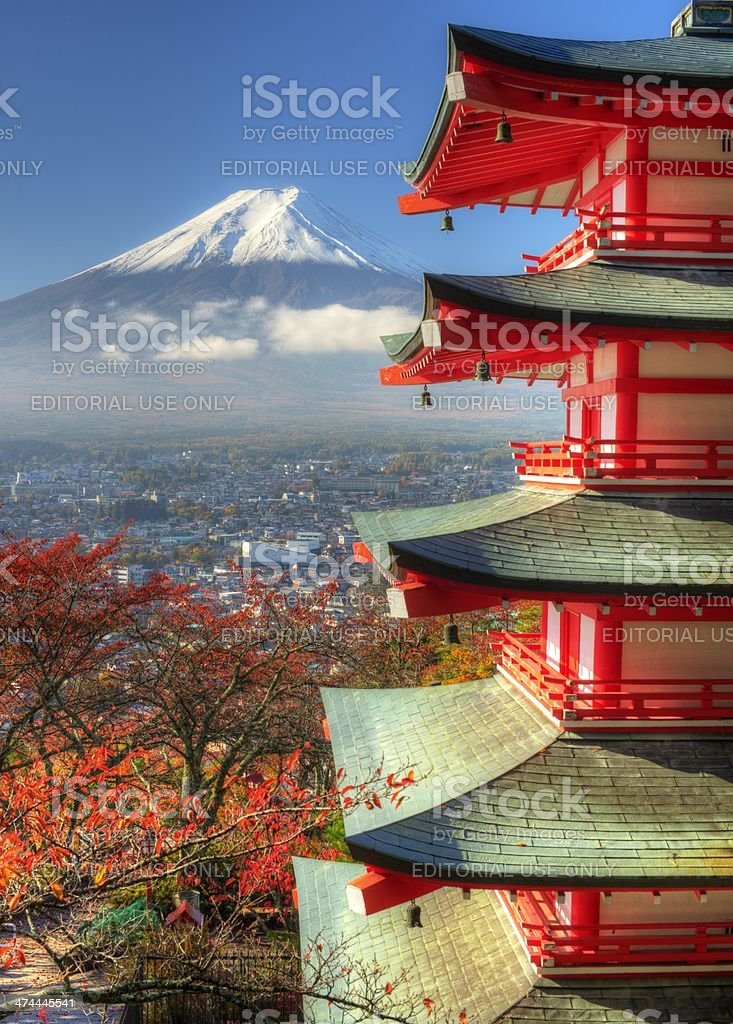 Chureito Pagoda and Mt. Fuji stock photo