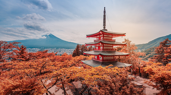 Fujiyoshida, Japan - June 08, 2018: The Chureito Pagoda, a five-storied pagoda also known as the Fujiyoshida Cenotaph Monument, on the top of viewpoint can see mt. Fuji on the background.