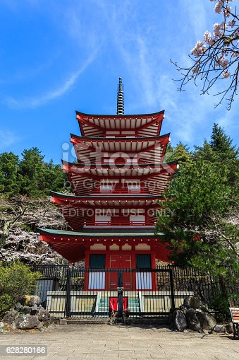 istock Chureito Pagoda in Arakura Sengen Shrine. 628280166