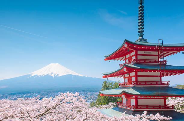 pagode chureito - préfecture de tokyo photos et images de collection