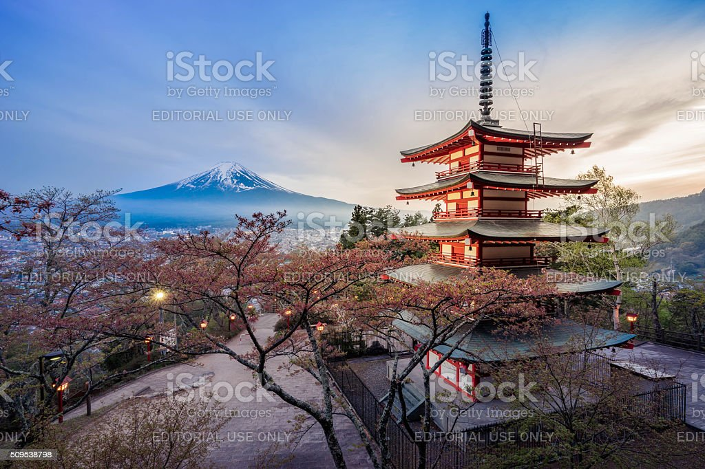 Chureito Pagoda with Mt.Fuji bildbanksfoto
