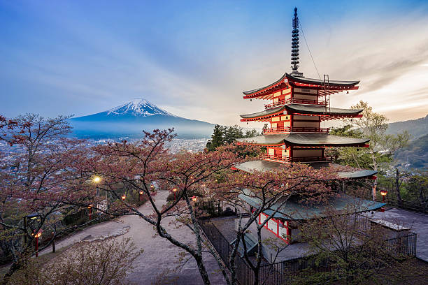 chureito pagoda with mt.fuji - tokyo japan stock photos and pictures