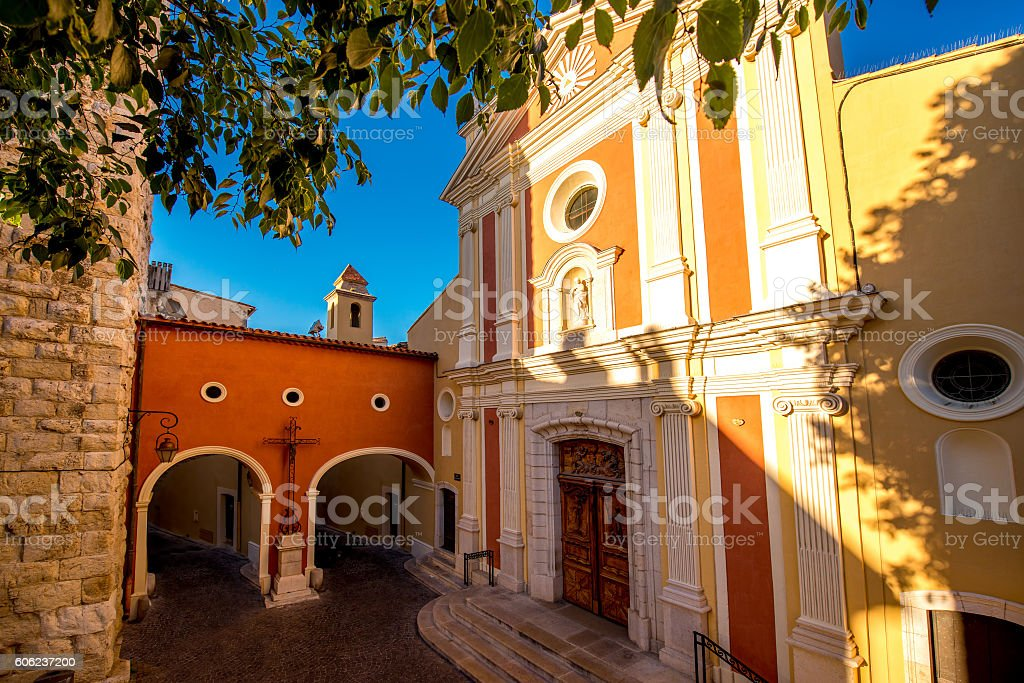 Churh in Antibes village stock photo