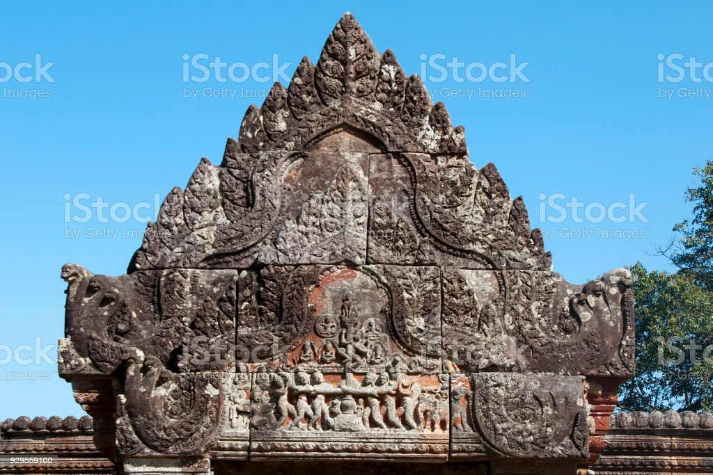 Churning of the Ocean of Milk bas relief on pediment at the 11th century  Preah Vihear Temple stock photo