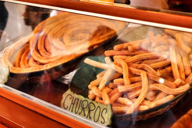 Churros for sale in a street stall in Spain – zdjęcie