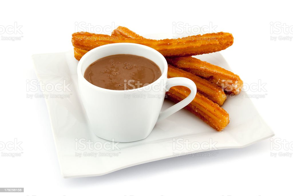Churros with hot chocolate stock photo
