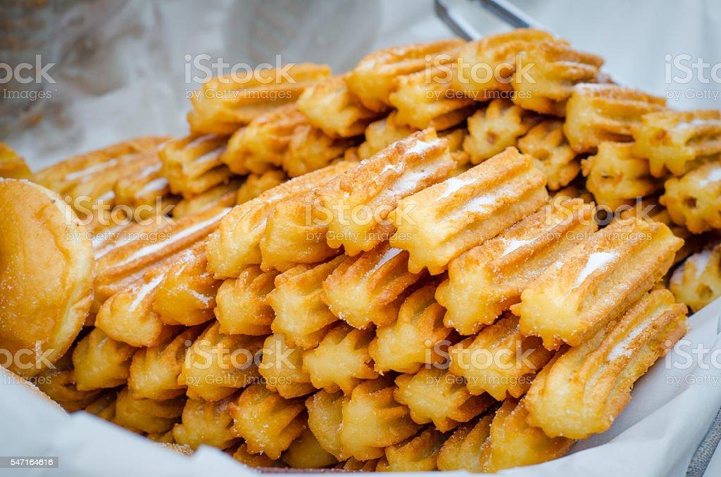 churros with sugar stock photo