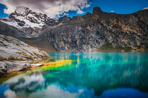 Churup lagoon and snowcapped Cordillera Blanca – Ancash, peruvian Andes, Peru