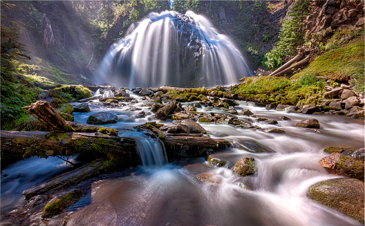 Chush Falls is on Whychus Creek on the north side of North Sister mountain, within driving distance of Bend and Sisters