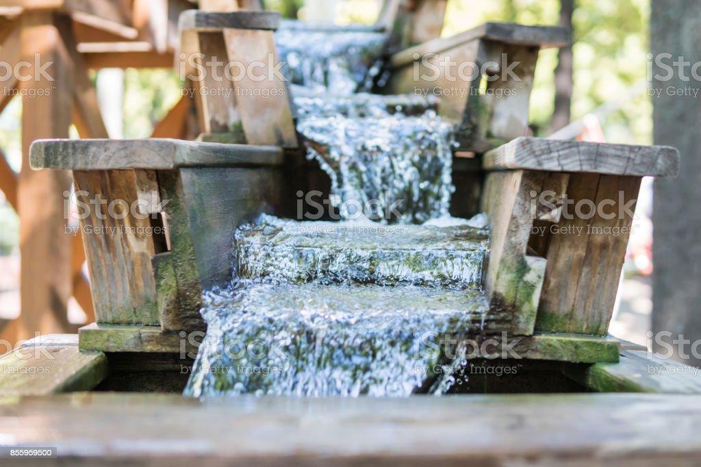 Chute with running water stock photo