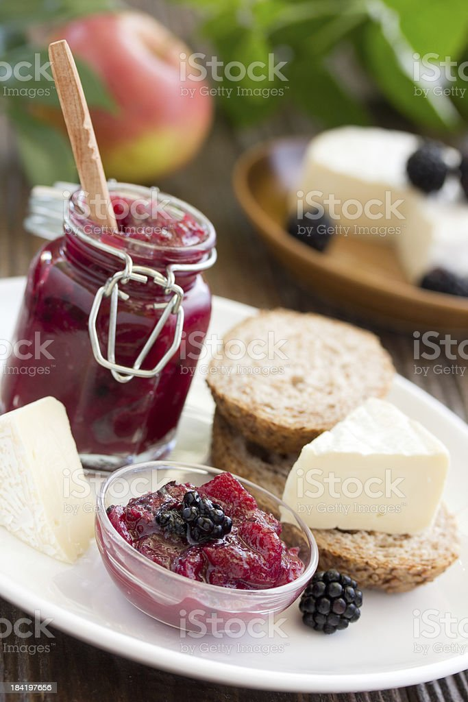 Chutney of apples and blackberries. royalty-free stock photo