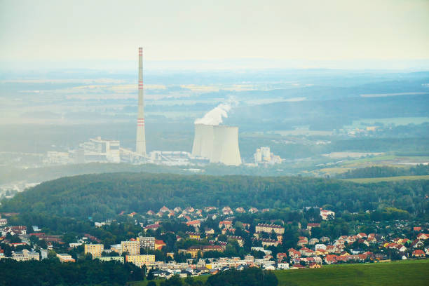 Chvaletice, Czechia - 08/25/2019: Aerial view of thermal coal power plant Chvaletice. stock photo