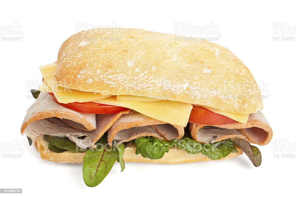Ciabatta bread sandwich royalty free stockfoto