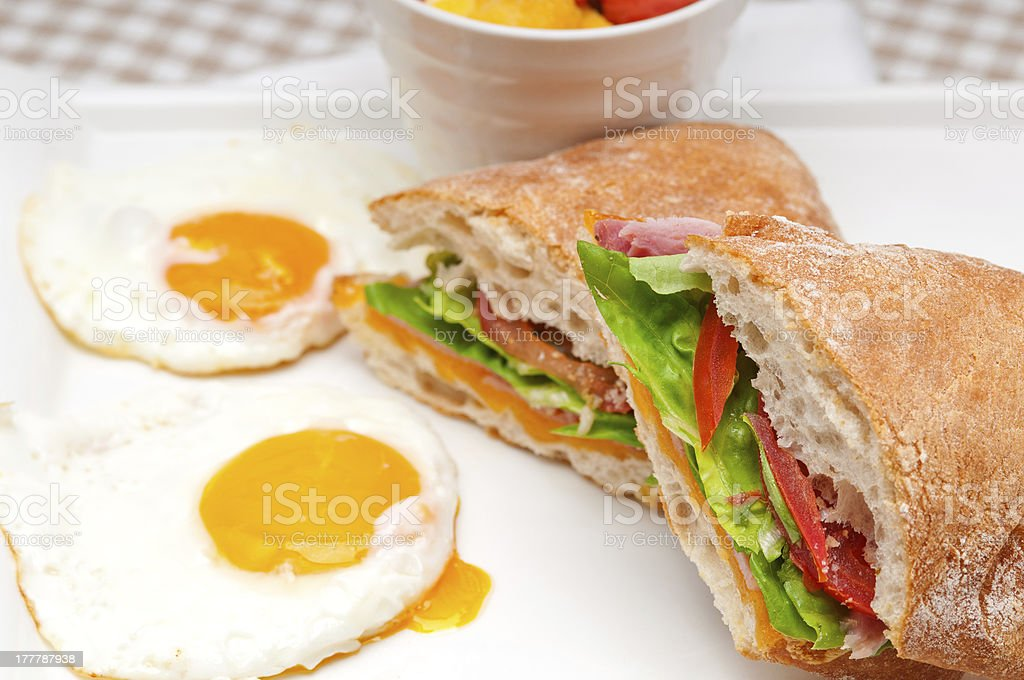 ciabatta panini sandwich eggs tomato lettuce royalty-free stock photo