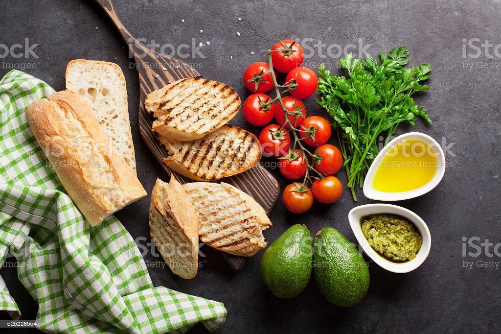 Ciabatta sandwich cooking stock photo