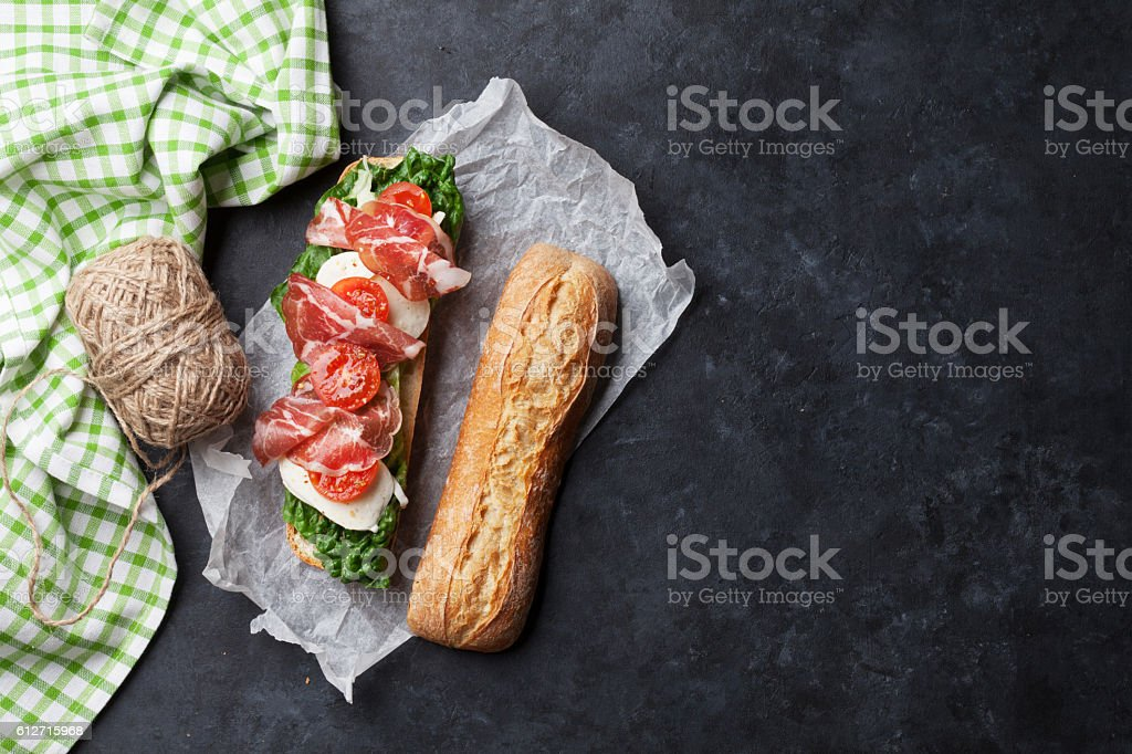 Ciabatta sandwich stock photo