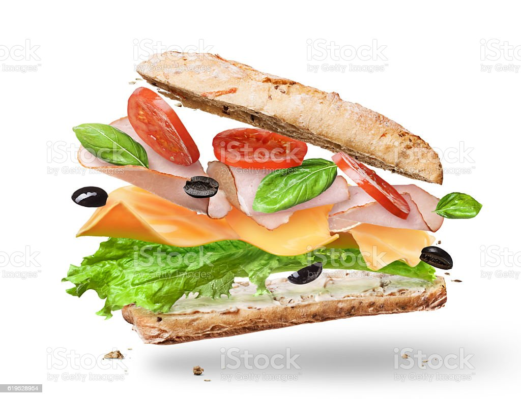 Ciabatta Sandwich with Lettuce, Tomatoes, Ham stock photo