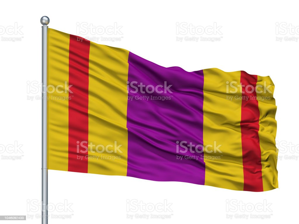 Ciales City Flag On Flagpole Puerto Rico Isolated On White