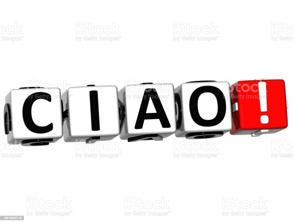 3D Ciao block text on white background stock photo