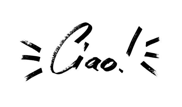 ciao - moderna kalligrafi bokstäver - italy poster bildbanksfoton och bilder