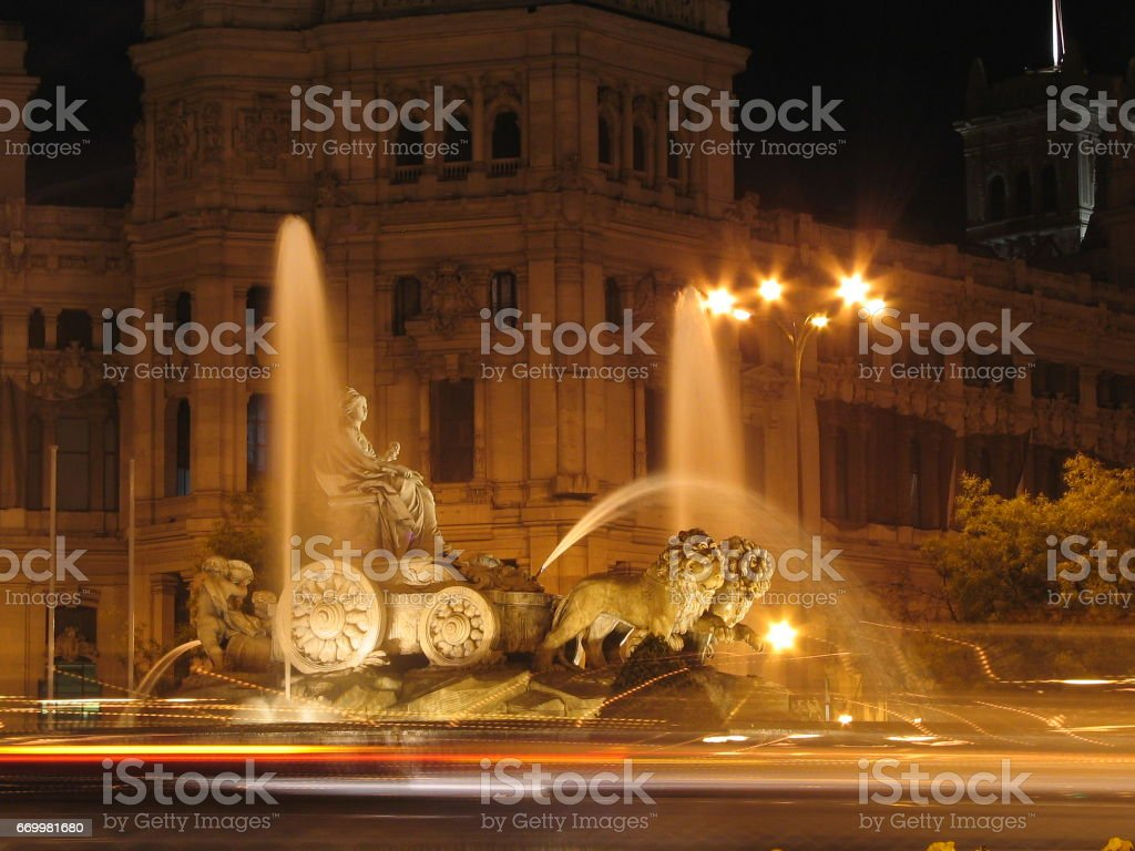 Cibeles at night stock photo