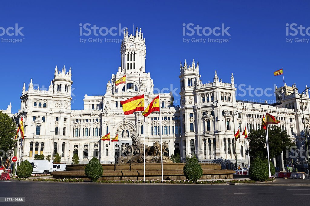 Cibeles Fountain and Palacio de Comunicaciones, Madrid, Spain stock photo
