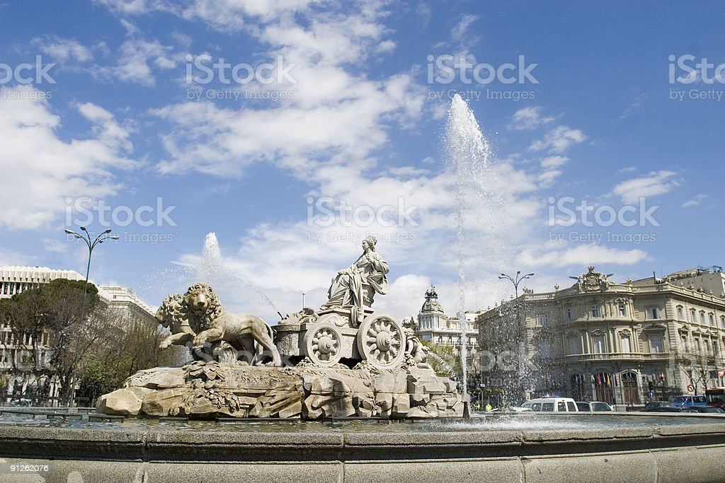 Cibeles Fountain at 45 degrees angle stock photo